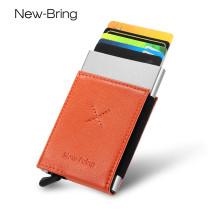 NewBring Auto Pop-Up Aluminium Credit Card Holder Metal RFID Blocking Leather Money Cash Coin Wallet, Orange