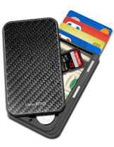 NewBring Slide Open Credit Card Holder Wallet for Men and Women/Slim Minimalist Front Pocket RFID Wallet with Band as Money Clip, Carbon Fiber