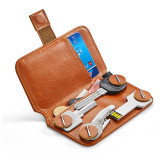 NewBring Key Holder Genuine Leather Housekeeper Key Wallet Money Car Key Organizer Keychain Pouch With Card Slot For Long Key, Orange