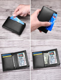 New-Bring Leather Wallet for Men with RFID Blocking - Bifold Slim Card Holder Front Pocket Wallet With ID Window, Black