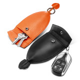 New-Bring Leather Key Organizer with Keychain for Men and Women Key Holder, Black