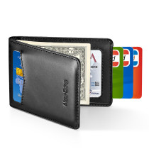 New-Bring Slim Leather Wallet for men RFID Blocking Minimalist Credit Card Holder, Black