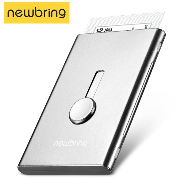 New Bring Card Holder Metal Wallet for Men Business Card Case Automatical Aluminium Credit Card Organizer Wallet Minimalism, Silver