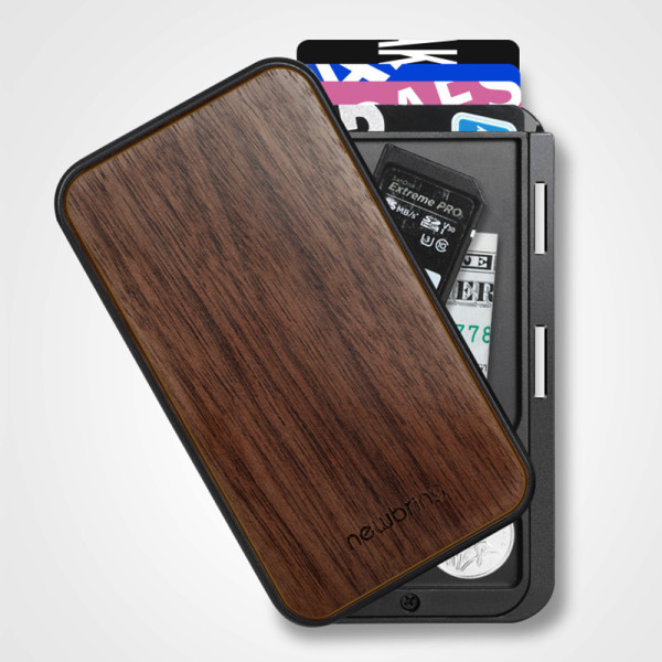 New-Bring Credit Card Holder RFID Blocking Slim Flip Card Wallet for Men and Women, Walnut Cover