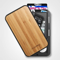 New-Bring Credit Card Holder RFID Blocking Slim Flip Card Wallet for Men and Women, Bamboo Wood Cover