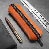NewBring Leather Pencil Case Big Capacity Pen Marker Holder Pouch Bag Stationery Organizer with Zipper for School Office, Orange