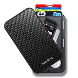 NewBring Slide Open Credit Card Holder Wallet for Men and Women/Slim Minimalist Front Pocket RFID Wallet with Band as Money Clip, Carbon Fiber