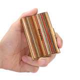 New-Bring Professional Business Card Holder Slim Pocket Business Card Case Wallet  for Men and Women Leather Cover Metal Case (1)