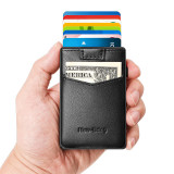 NewBring Aluminum Card Holder Wallet with Outside Pocket Mini RFID Blocking Automatic Pop up Bank Card Case Organizer Purse Bag Black