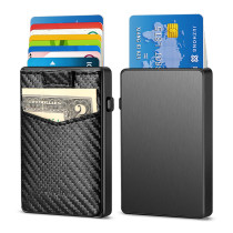 NewBring Aluminum Card Holder Wallet with Outside Pocket Mini RFID Blocking Automatic Pop up Bank Card Case Organizer Purse Bag Carbon Fiber