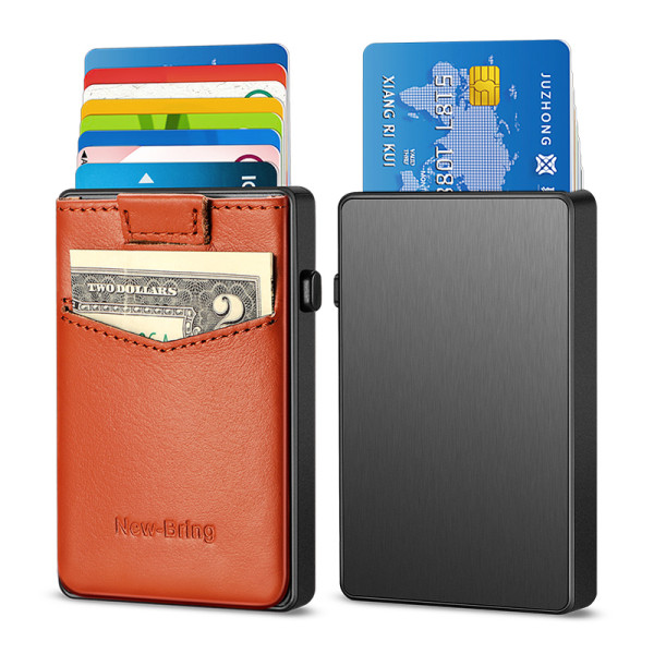 NewBring Aluminum Card Holder Wallet with Outside Pocket Mini RFID Blocking Automatic Pop up Bank Card Case Organizer Purse Bag Orange