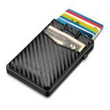 NewBring Aluminum Card Holder Wallet with Outside Pocket Mini RFID Blocking Automatic Pop up Bank Card Case Organizer Purse Bag Carbon Fiber