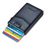 NewBring Aluminum Card Holder Wallet with Outside Pocket Mini RFID Blocking Automatic Pop up Bank Card Case Organizer Purse Bag Blue