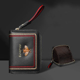 Copy Copy NewBring Genuine Leather Business Card Holder Purse Function RFID Blocking Zipper Bank ID Credit Card Wallet for Women Men Black