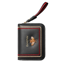 Copy Copy NewBring Genuine Leather Business Card Holder Purse Function RFID Blocking Zipper Bank ID Credit Card Wallet for Women Men Black