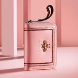 Copy NewBring Genuine Leather Business Card Holder Purse Function RFID Blocking Zipper Bank ID Credit Card Wallet for Women Men Pink