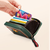 NewBring Genuine Leather Business Card Holder Purse Function RFID Blocking Zipper Bank ID Credit Card Wallet for Women Men Green