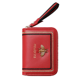 Copy NewBring Genuine Leather Business Card Holder Purse Function RFID Blocking Zipper Bank ID Credit Card Wallet for Women Men Red