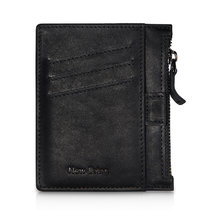 NewBring Portable Card Holder Slim Coin Purse Women Zipper Wallet Leather SD Card Cases with Six Credit Card Wallet Male Slots, Black 1