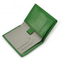 NewBring Slim Leather Double Billfold Wallet for Men Front Pocket Handmade Minimalist Slimfold, Green
