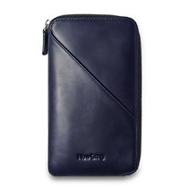 Mens Clutch Bag Leather Handbag With Zipper Organizer Checkbook Wallet Card Holder, Blue