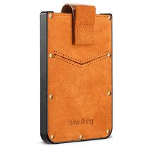 New-Bring Metal Wallet for Men Hold Card Leather Surface Slim RFID Blocking Minimalist Credit Card Holder, Orange