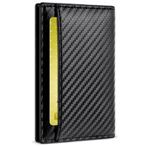 New-Bring Leather Wallet for Men with RFID Blocking - Bifold Slim Card Holder Front Pocket Wallet With ID Window, Carbon Fiber