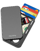 NewBring Slide Open Credit Card Holder Wallet for Men and Women/Slim Minimalist Front Pocket RFID Wallet with Band as Money Clip, Grey