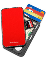 NewBring Slide Open Credit Card Holder Wallet for Men and Women/Slim Minimalist Front Pocket RFID Wallet with Band as Money Clip, Red