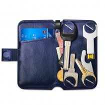 NewBring Key Holder Genuine Leather Housekeeper Key Wallet Money Car Key Organizer Keychain Pouch With Card Slot For Long Key, Blue