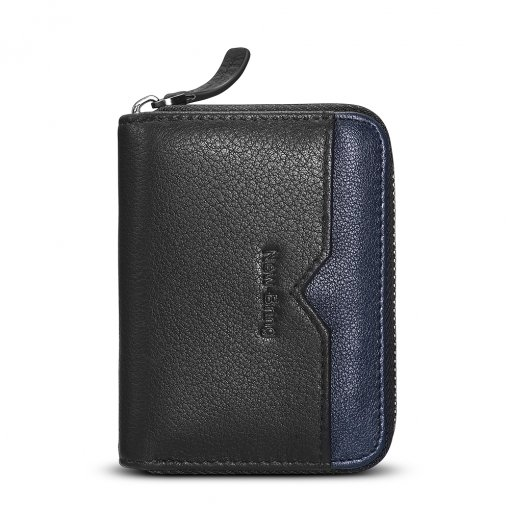 New-Bring RFID Blocking Slim Credit Card Holder Wallet Genuine Leather Multi Card Organizer Travel Wallet with Zipper, Black
