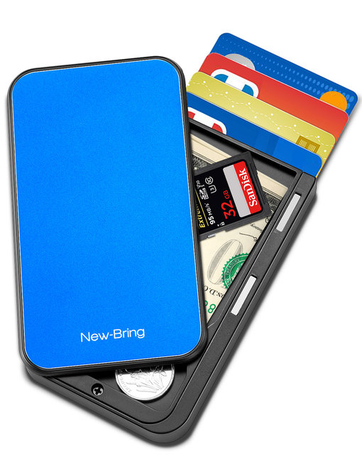 NewBring Slide Open Credit Card Holder Wallet for Men and Women/Slim Minimalist Front Pocket RFID Wallet with Band as Money Clip, Blue