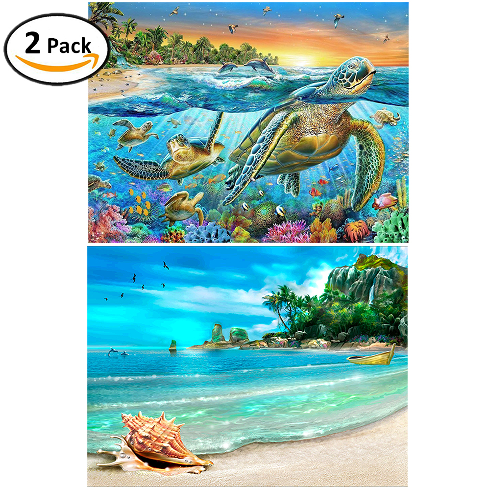 2 Packs 5D DIY Diamond Painting--Turtle&Beach