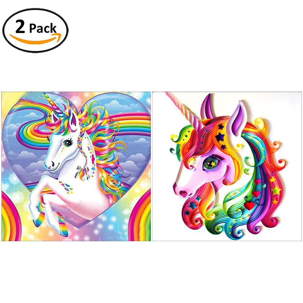 2 Packs 5D DIY Diamond Painting-Unicorn