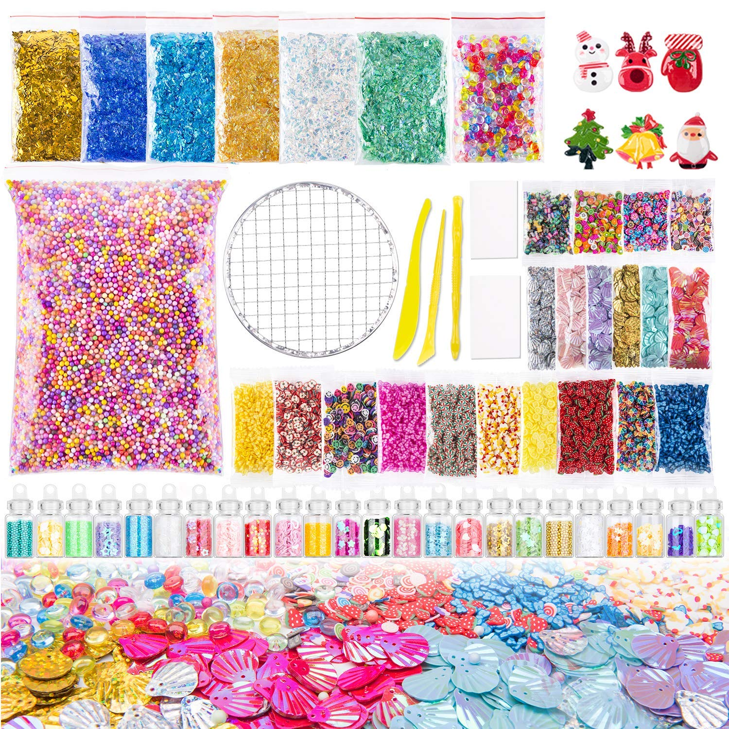FUTOHON Slime Supplies Kit,57 Pack Slime Beads Charms Include Foam Beads,Fishbowl Beads,Glitter Jars,Cake Flower Fruit Slices,Shell,Sugar Paper,Christmas Ornaments,Slime Tools for DIY Slime Making