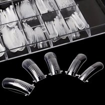 ECBASKET 100PCS Dual Nail Forms Acrylic Nail System Forms Full Cover Polygel Uv Gel Nail tips Clear Fake Nail Molds 10 Size With Scale