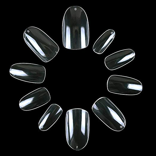 Clear Nail Tips Acrylic Nails Short Oval Nails 500 Full Nails 10 Sizes With Bags
