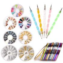 Nail Art Kit includes 5Pcs Dotting Pen,7Pcs Nail Rhinestones Decoration & 50Pcs Nail Striping Tape UV Gel Acrylic Nail Tools Set
