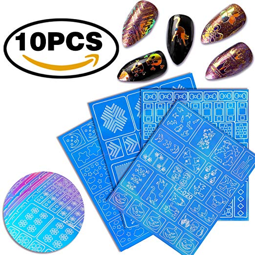 Self-Adhesive Broken Nail Glass Piece Sheet Nail Vinyls Reflective Mirror Design DIY Glass Piece Random Pattern 10pcs Nail Stickers