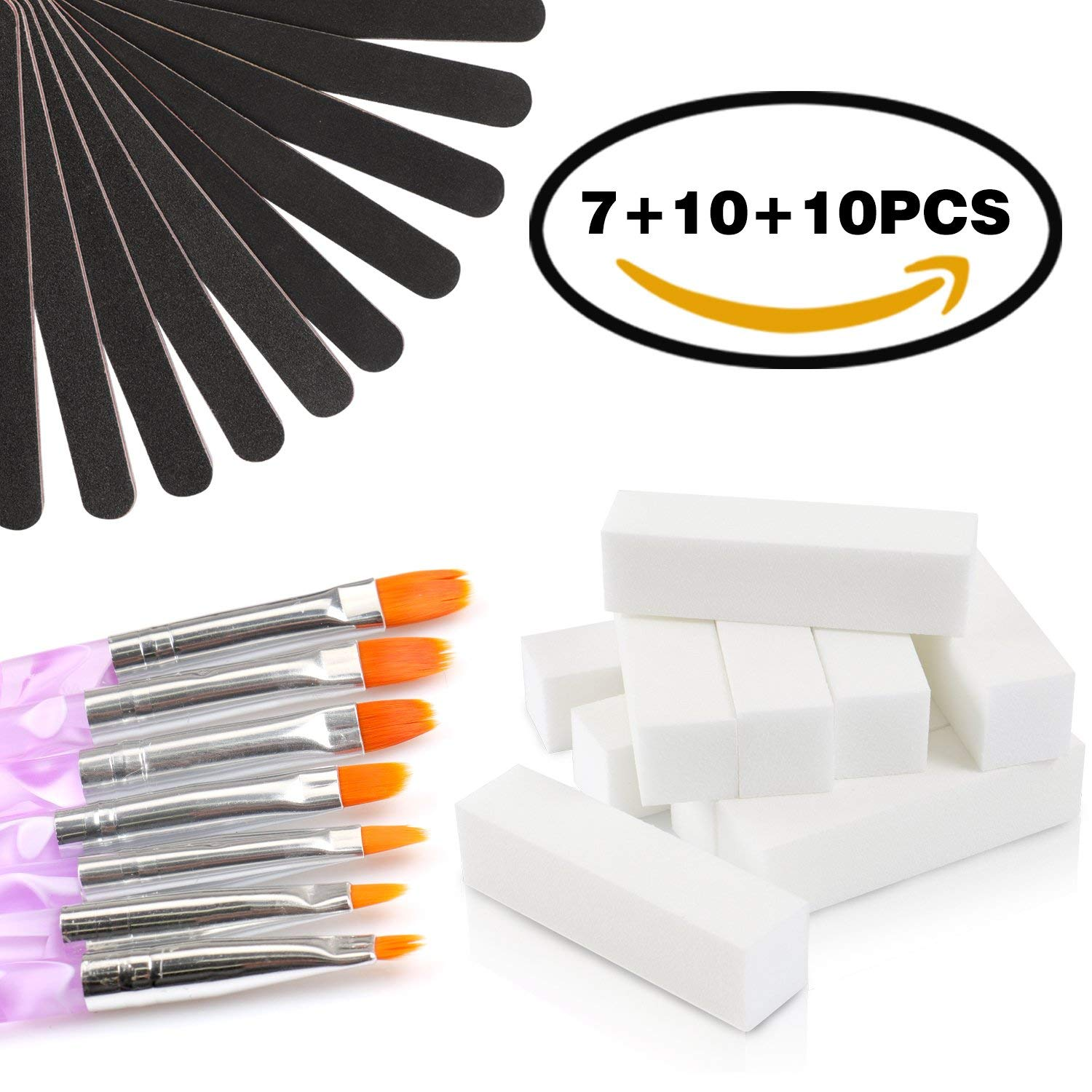 Nail Files And Buffers Set - 7PCS Arylic Gel Nail Builder Brushes &10PCS 100/180 Grit Nail Files Washable Emery Boards & 10PCS Acrylic Nail Buffer Block Nail Art Manicure Pedicure Tool