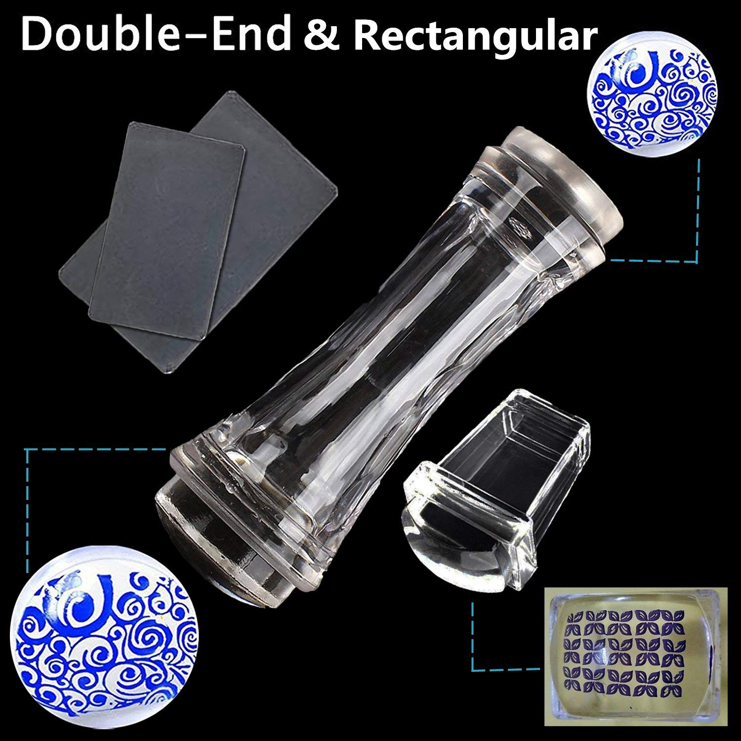 2 Pcs Double Ended Transparent Round and Jelly Clear Stampers Plate And Scrapers Set DIY Nail Art Tools Template Manicure Accessories(Large:1.18in;Mini:1.1in;Rectangle:1.18 multiply 0.91in)
