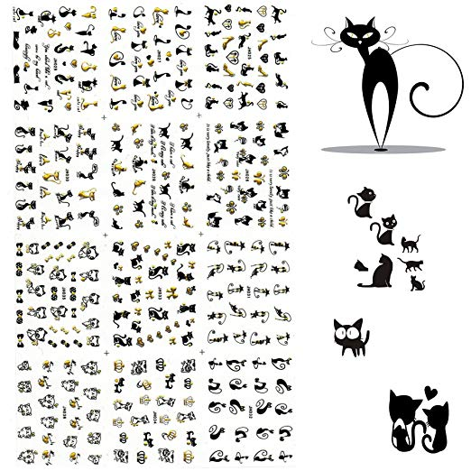 3D Nail Art Stickers 1 Pack 12 Different Cute Cat Designs Best Nail Art Decals For Ladies