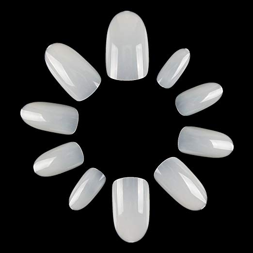 ECBASKET Acrylic Nail Tips Natural Fake Nails Short Oval Nails Artificial Press On Nails For Women Girls Teen 500 PCS