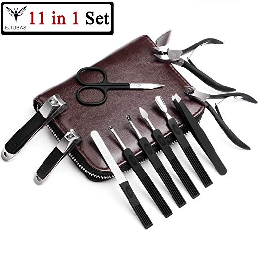 Ejiubas 11 in 1 Manicure Pedicure Set Nail Clippers Professional Stainless Steel Pedicure Kit Nail Scissors Travel Grooming Tool with Leather Bag Perfect Gift for Men and Women