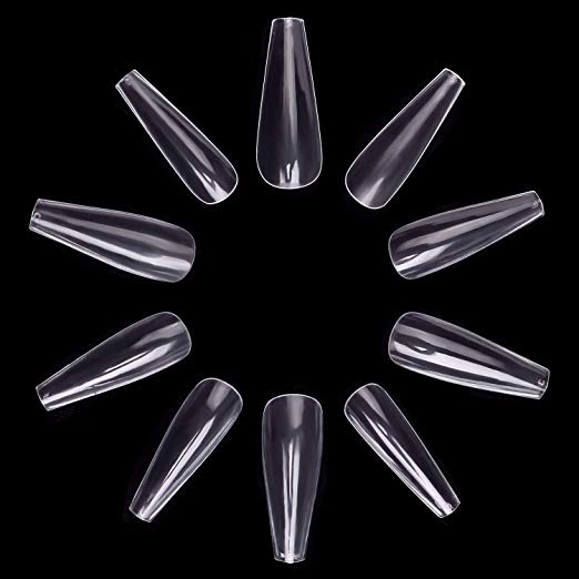 ECBASKET 500pcs Coffin Nails Clear Ballerina Artificial Nail Tips Long Ballet Nails Full Coverage Acrylic Fake Nails 10 Sizes