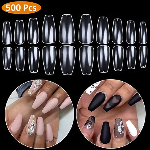 Coffin Nails Full Cover - Short Fake Nails Clear Ballerina False Nail 500 Pcs in bag, 10 Sizes