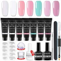 ECBASKET Poly Nail Gel Kit Professional Gel Nail Extension Gel Nail Enhancement Builder System All-in-One Nail Technician French Kit 7 Colors
