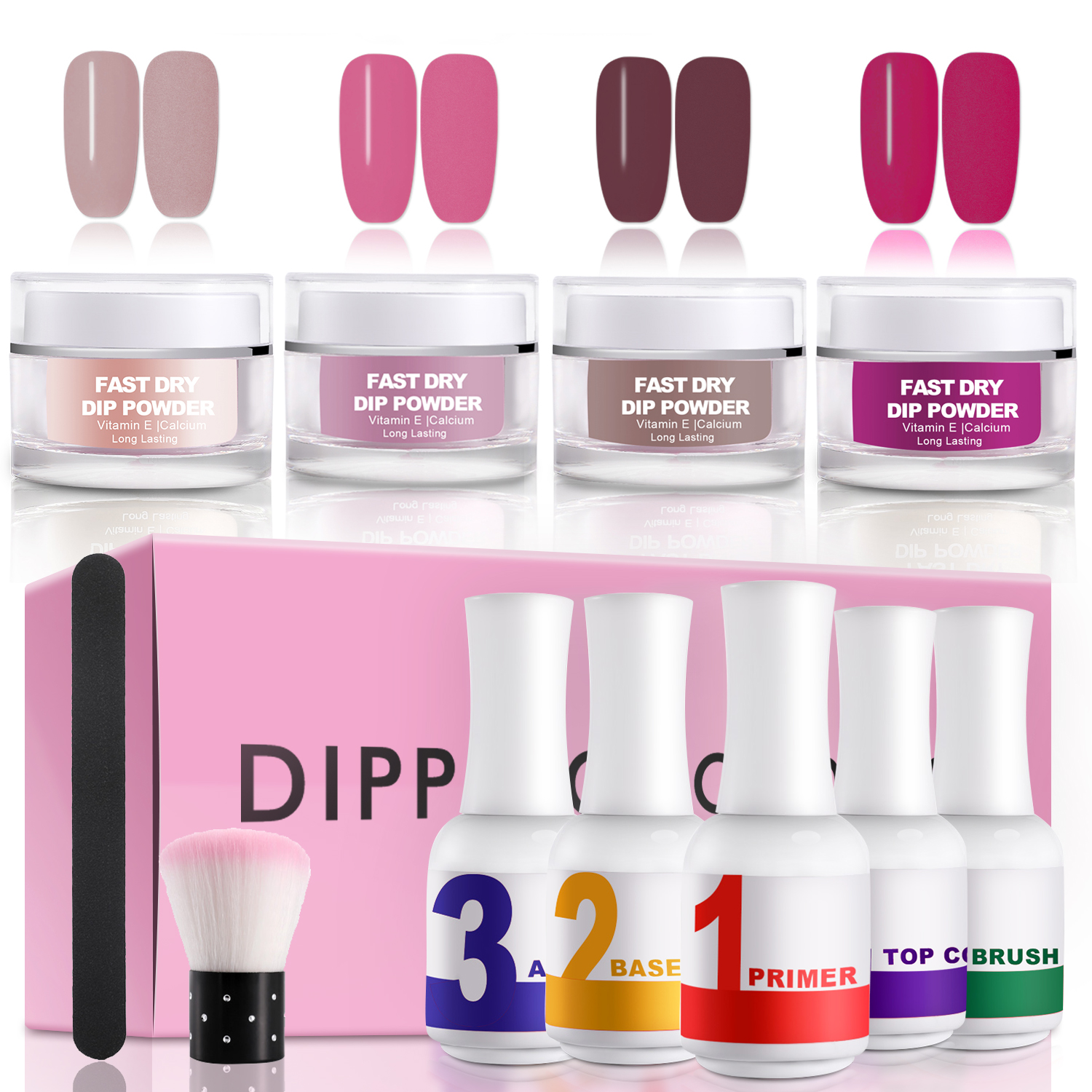 Dip Nail Powder Nail Starer Kit Ejiubas Acarylic Dipping System Fast Dry Dip Powder kit Acrylic Nail Dipping Powder Manicure Nail art set