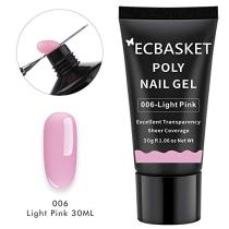 ECBASKET Poly Nail Gel Light Pink 30ML 1.014oz Nail Builder Gel Poly Nail Extension Gel Nail Thickening Enhancement Tool