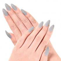 Ejiubas Newest Arrival 24 Pcs Flesh Color Matte with glossy Finish Full Cover Talone Medium False Nail Tips (Grey)